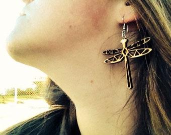 Laser cut dragon fly earrings