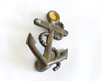In the Navy. Ship's ANCHOR vintage brass figurine, Nautical, paperweight, sailing ship, paper weight. Altered art assemblage, beach accent