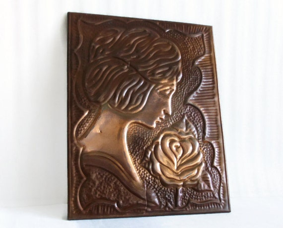 Lady & Rose. Wall decor, vintage copper, Repousse picture, Wall hanging, Handmade folk art, embossed, crafts, wall art, home decor, flower