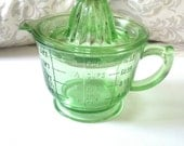 Green Glass Reamer and Measuring Cup 16 Ounces Hazel Atlas Raised Letters and Numbers 1930's - PerfectYesterdays