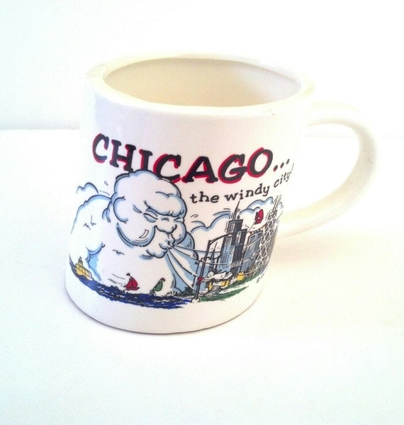 Chicago Coffee Mug Cup The Windy City White Ceramic