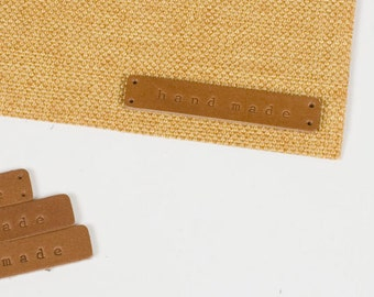 Hand Made Leather labels set of 4 - Tan