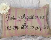 Birth announcement pillow, birth statistics pillow, personalized baby pillow, nursery  pillow, nursery decoration, custom nursery decor