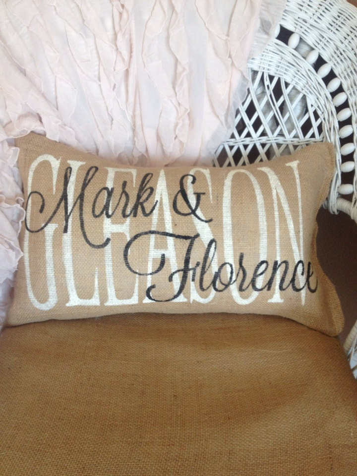 Personalized Wedding Pillow Family Name Pillow Custom Gift