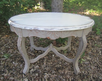 "Vintage Accent Table, ""cocoa"" and ""old white"""