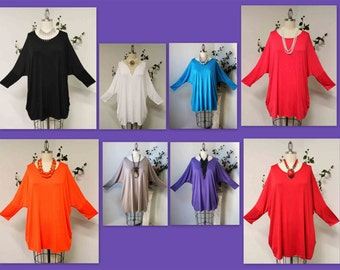 Oversize Tunic, Plus size top, Lagenlook Tunic, Off shoulder Top, Women Tunic, Side Pockets up to 3XL