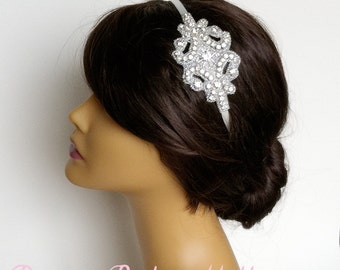 Flapper Bridal Headband - bridal headband, 1920s crystal headband bridal hair accessories, headpiece SILVER ROUND