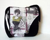 "Parisian Toile de Jouy Boho Gobelin Bag Purse ""Rhian"" French Tapestry Black Vintage Paris Shabby Haute Couture Hippie Velvet Nostalgic"
