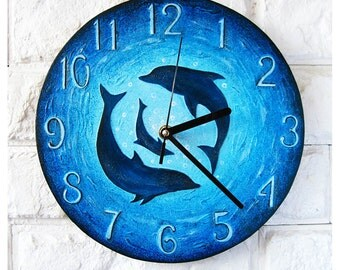 The Dolphins Wall Clock, Ocean Home Decor for Children, Modern wall clock with numbers, wood clock, white home decor, wedding gift, Office