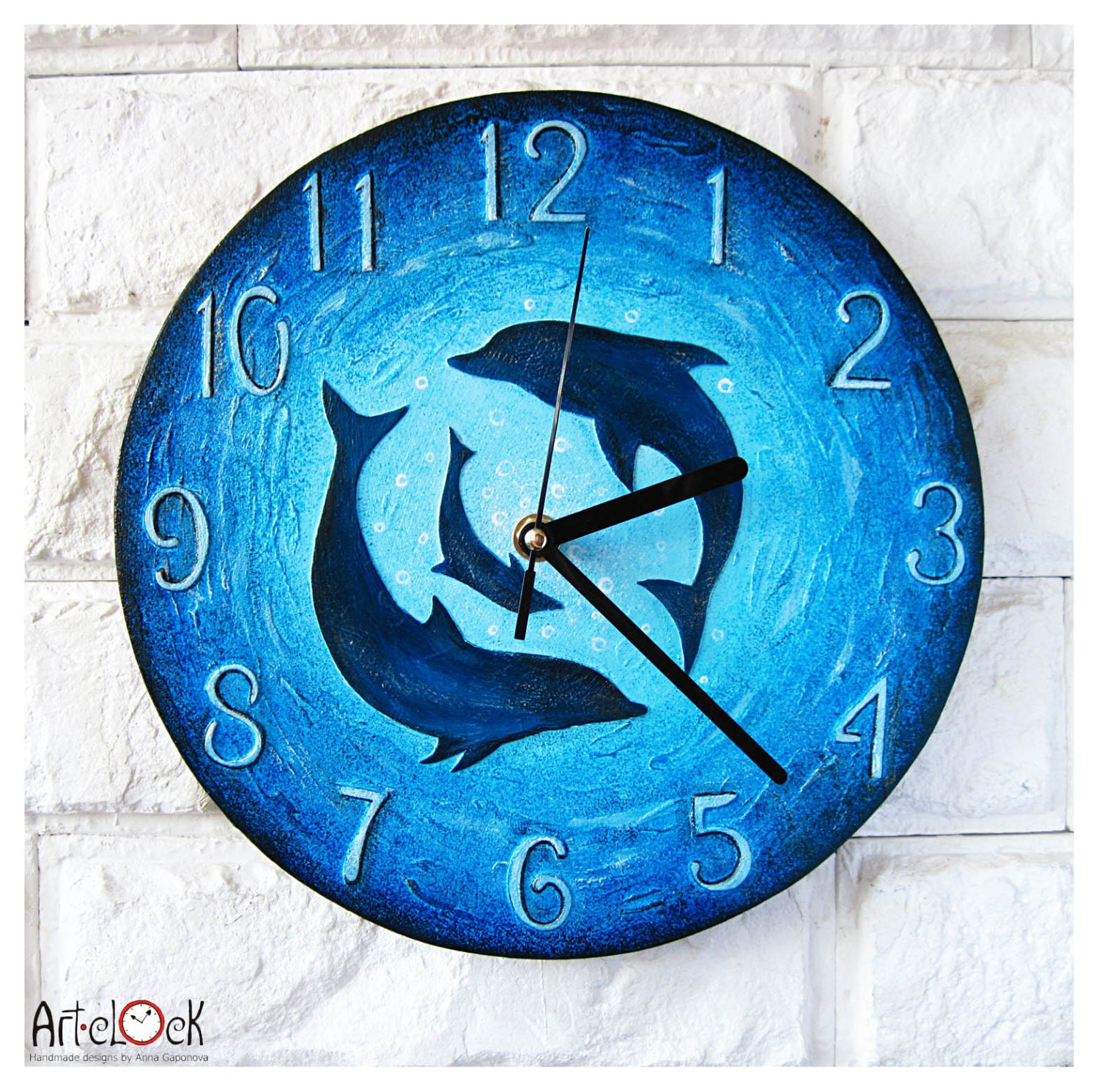The Dolphins Wall Clock Ocean Home Decor For Children Modern