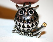 2 Darling Silver 3D Hollow Owl on Branch Charms/Pendants