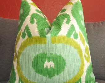 Green Ikat, Green Pillow, Pillow Cover, Decorative Pillow, Throw Pillow, Toss Pillow, Chartreuse Ikat, Home Furnishing, Home Decor, 20x20 in