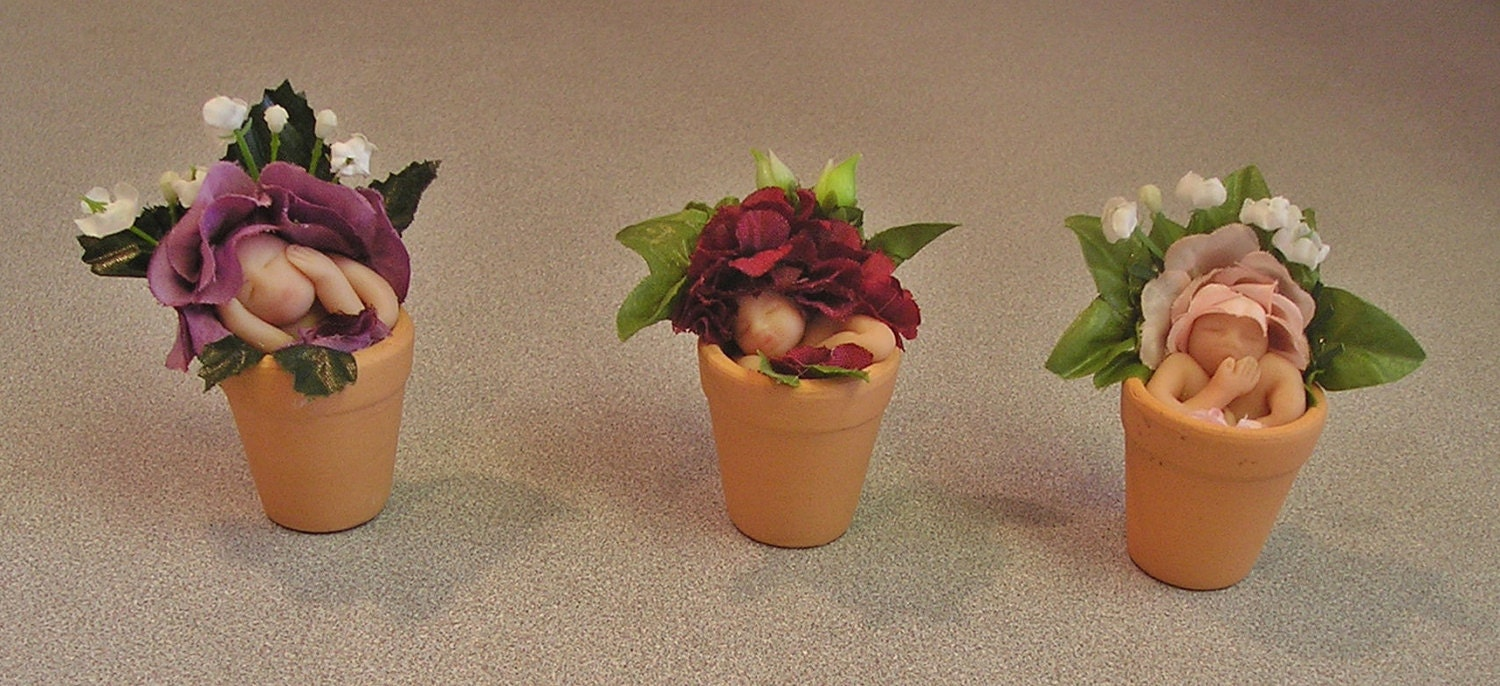 Flower pot babies miniature polymer clay art dolls for Small clay flower pots