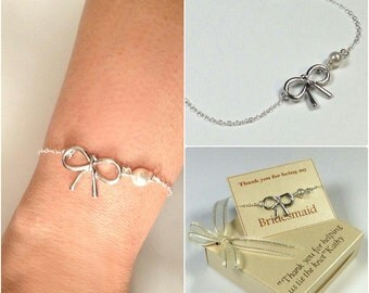 Sterling silver bow bracelet, Bridesmaid Bracelet, Pearl Bracelet, Personalized Bracelet, Custom Bracelet