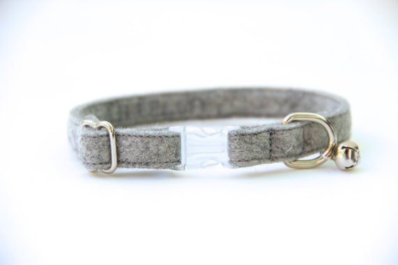 Cat Collar - Heather Grey Felt - Adjustable - Optional ID Tag