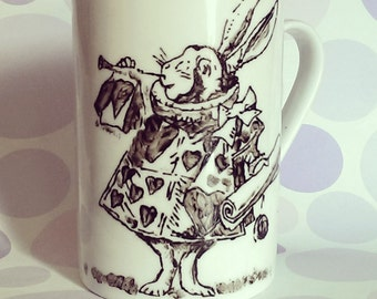 Alice in Wonderland - White Rabit - Hand Printed Cup