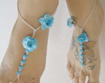 TurQuoIse BAREFOOT sandals/ barefoot sandal/ barefoot flower blue sandal/ Floral barefoot BOHO hippie/ anklets/foot thongs/ bottomless shoes
