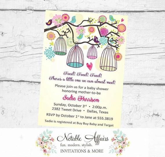 A little birdie told us Bird Cages Little Birdie Birthday Tweet Baby Shower Housewarming Bridal Shower Invitation - no color changes
