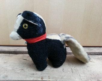 Vintage Stuffed Skunk, Excelsior Stuffed Animal, Handsewn