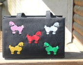 Black Purse with embroidered poodles