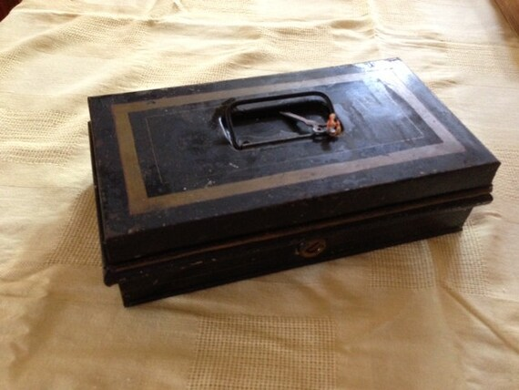 Antique Black Document or Cash Box with Key