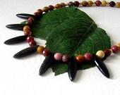 Mookaite Gemstone Necklace, Mookaite Jewellery, Tribal Style Necklace, Earth Tones, Obsidian Necklace, Semi Precious Stone.
