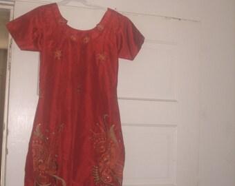 Ladies size 0 RUST SILK Dress/tunic