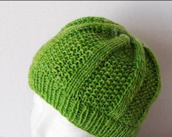 Handmade Knit Beanie Hand Dyed Wool Lime Green Seed Stitch Panels