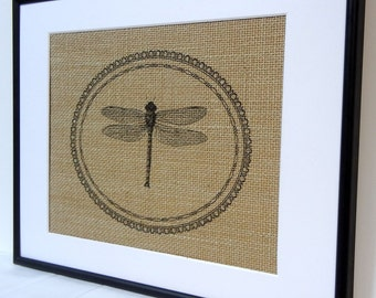 75% OFF SALE Dragonfly burlap Wall decor on natural burlap cottage vintage home