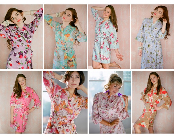 5 Custom lined bridesmaids robes. Great as wedding day robes, bathrobes, bridal robes, robes for bridesmaids & flower girl robes.