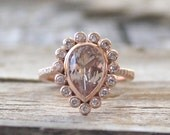 Pear Champagne Peach Sapphire Diamond Halo Ring in 14K Rose Gold