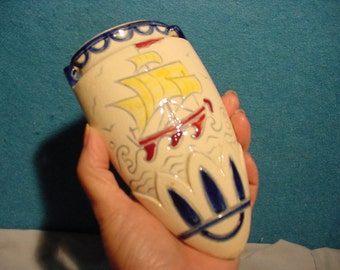 Lovely Vintage Wall Pocket Sailing Ship Crossing the Ocean, Hand Painted Japan