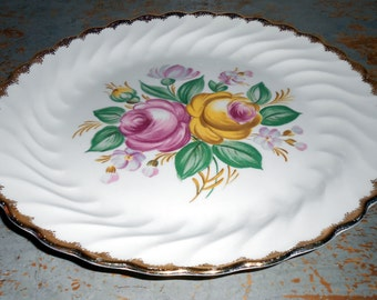Vintage Plate, Dinner Plate, Floral, Roses, Pink, Yellow, Large Plate, 22k Gold, Warranted, Cake Plate,  Royal China, Quban Royal
