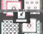 "TWEET HEARTS Love Letters Digital Scrapbook Paper Set - Pink Love Letter Birds Typewriter (12 ""x 12"" 300dpi) Instant Download - 10 JPG Files"