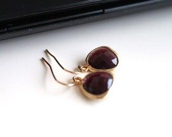 Burgundy crystal earrings, oxblood glass earrings, small gold earrings, simple everyday jewelry