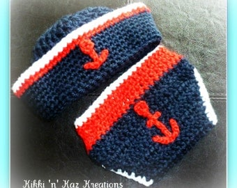 Baby Crocheted Sailor Diaper Cover and Hat