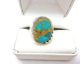 Vintage Sterling Silver and Turquoise Man's Ring Size 10.5