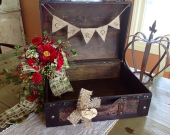 Rustic Wedding Card Box,Burlap Banner, Personalized.