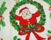 Vintage KITCHEN towel - 1970s Christmas Kitchen Towel - Unused - Santa, Candy Canes, Christmas Ornaments