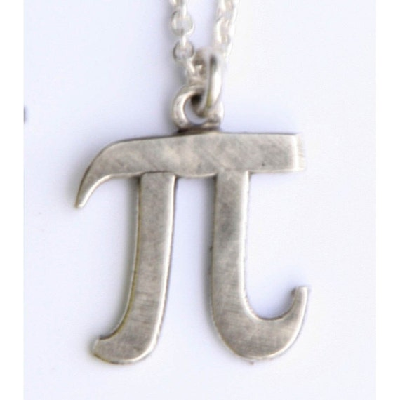 pi symbol necklace smaller size by sciencestuff on etsy