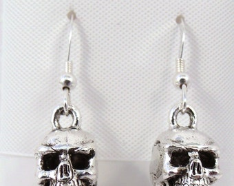 Silver Plated Skull Charms on Sterling Silver Ear Wire Dangle Earrings - 2955