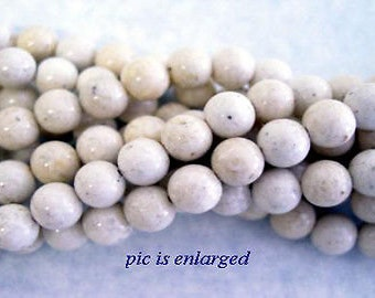Ivory Creme Riverstone Coral Fossil Stone Beads 6mm round 16 in strand