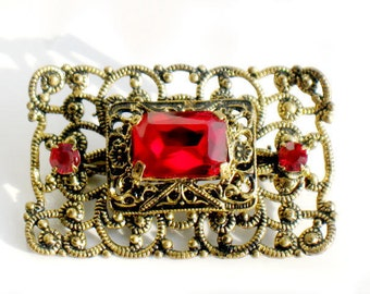 Red Brooch Victorian Art Nouveau Flower Jewelry Antiqued Filigree Rhinestone Collectible Pin Christmas Red