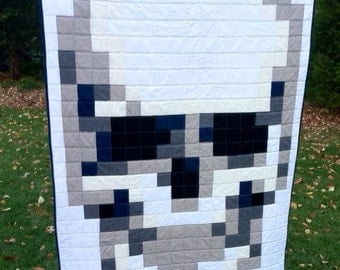 Skull Pixel Quilt MADE TO ORDER