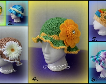 Crochet Summer hats.100% cotton.Hats with flowers.Ready to ship.