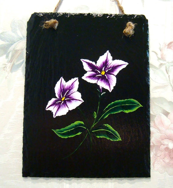 Black Slate Wall Hanging/ Plaque With Purple Flowers