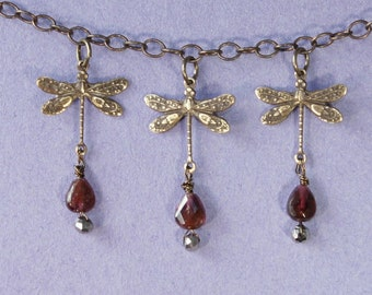 3 Dragonfly, Heart Garnet Necklace