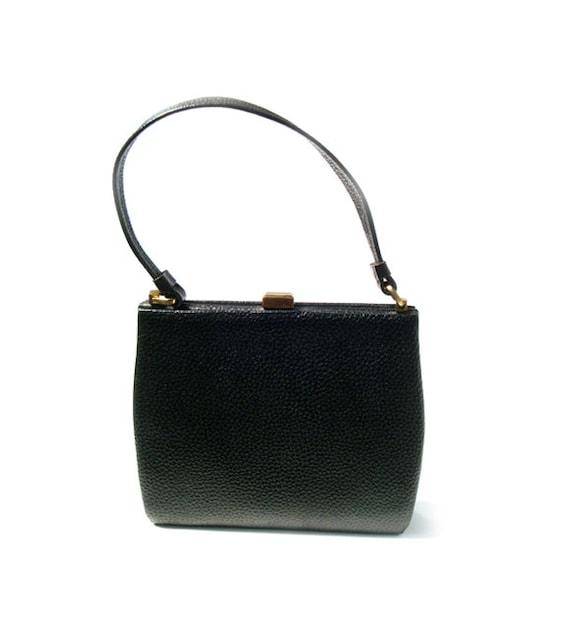 Vintage Black  Leather Bag,Italian Leather Bag,1950s, mod