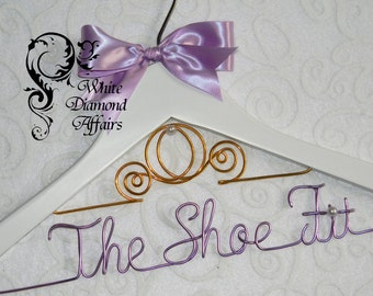 Cinderella Fairytale Coach Themed Wedding Dress Hanger, Personalized Disney Carriage Princess Bridal Hanger, Bridal Gift - Wire Name Hanger