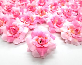 12 Two-tone Light Pink mini Roses Heads - Artificial Silk Flower - 1.75 inches - Wholesale Lot - for Wedding, Make Hair clips, headbands